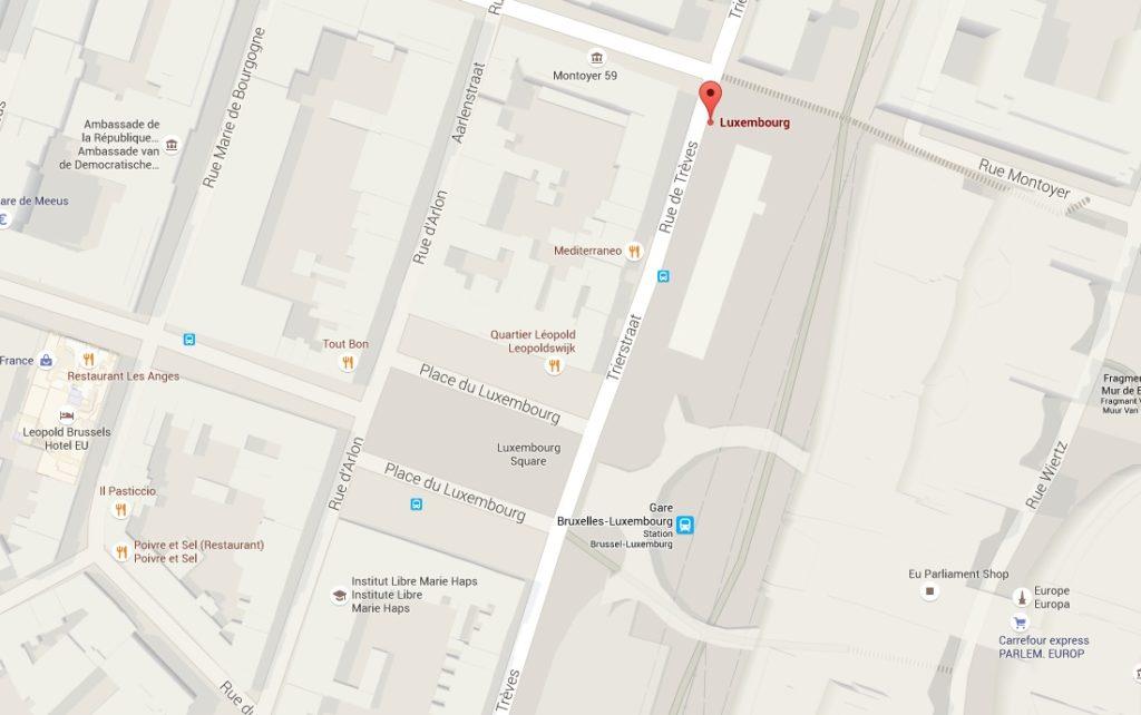 Location of bus stop in front of European parliament (Rue de treves - Place du Luxembourg)