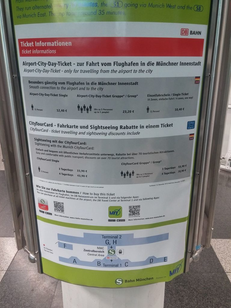 Datial on MVV information Panel at Airport Terminal