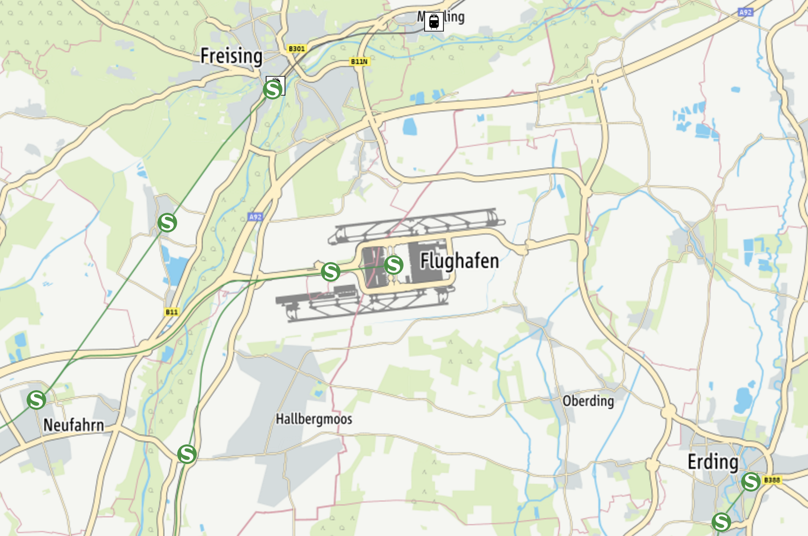 MVV map of Munich airport S-bahn stops