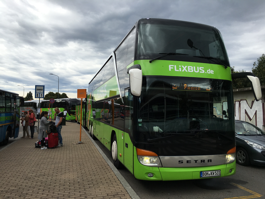 Flixbus dubledecker bus in Milan