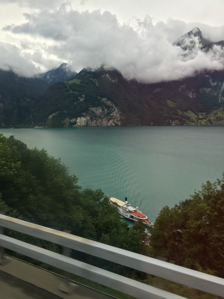 Flixbus travel ride Switzerland - lake and boat